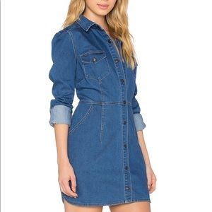 Free People Dynamite Denim Buttoned Dress